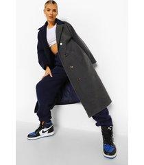 nepwollen contrasterende colour block jas, navy