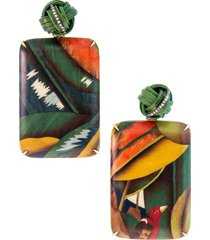 bird of paradise marquetry earrings