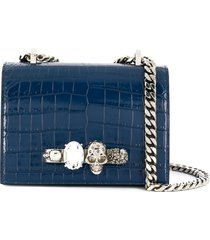 alexander mcqueen knuckle duster crocodile-effect shoulder bag - blue