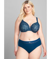 lane bryant women's cotton high-leg brief panty with lace waist 34/36 poseidon blue