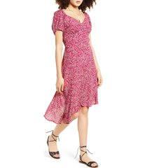 women's band of gypsies lake como floral print faux wrap dress