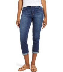 women's wit & wisdom luxe touch high waist crop skinny jeans, size 10 - blue (nordstrom exclusive)