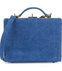 the briefcase woven straw & denim bag