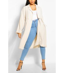plus double breasted drawstring waist duster coat, stone