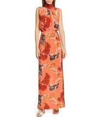 women's johanna ortiz beaded floral print silk crepe de chine maxi dress, size 0 - coral