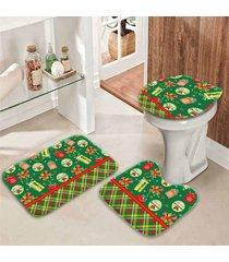 jogo tapetes para banheiro retro presentes verde ãšnico - multicolorido - dafiti