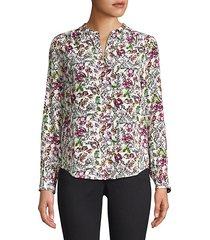 bardot floral silk blouse