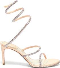 'cleo' strass coil anklet satin heel sandals