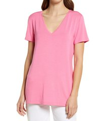 halogen(r) v-neck tunic t-shirt, size x-small in pink azalea at nordstrom