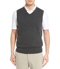 men's big & tall cutter & buck lakemont v-neck sweater vest, size xlt - grey