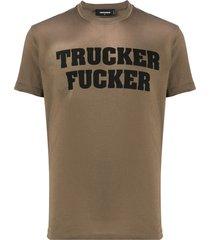 dsquared2 trucker fucker print t-shirt - green