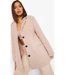 oversized nepwollen jas met schouderpads, taupe