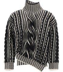 alexander mcqueen two-tone high neck sweater