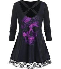 plus size twisted cross skull print lace hem tunic tee