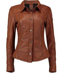leren blouse bruin