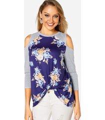 navy random floral print cold shoulder t-shirt