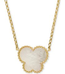 "effy mother-of-pearl butterfly 18"" pendant necklace in 14k yellow gold"