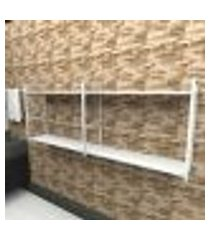prateleira industrial banheiro aço cor branco 180x30x68cm (c)x(l)x(a) cor mdf branco modelo ind36bb