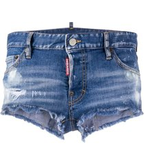 dsquared2 destroyed detail low-rise denim shorts - blue