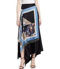 asymmetric patchwork maxi skirt