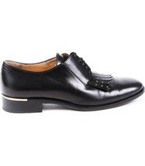 salvatore ferragamo black leather kiltie fringe oxfords black sz: 7
