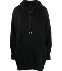 diesel zip detail hoodie dress - black