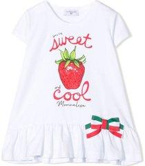 monnalisa white stretch-cotton t-shirt