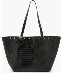 stud top tote bag, black