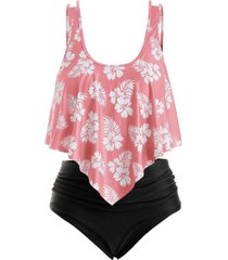overlay flounces floral leaves print plus size tankini swimsuit