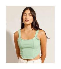 regata cropped corset alça larga decote reto verde claro