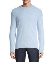 boss hugo boss men's textured cotton sweater - blue - size xxl