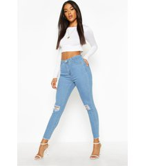 frayed hem distressed skinny jeans, light blue
