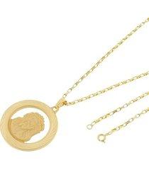 kit medalha face de cristo tudo joias com corrente cartier 2mm e 60cm folheado a ouro 18k