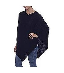 100% alpaca poncho, 'enchanted evening in black' (peru)