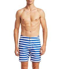 modern macro pinstripe swim shorts