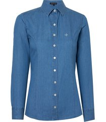 camisa dudalina manga longa jeans tradicional essentials feminina (jeans medio, 56)