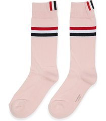 tricolour stripe cotton socks