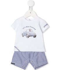 lapin house let's ride together striped print tracksuit set - white