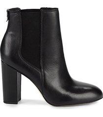 case leather block-heel booties