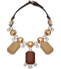 statement crystal & leather necklace