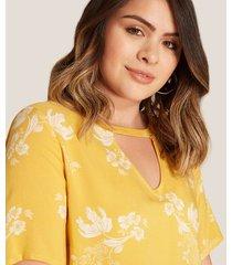 blusa manga corta cuello redondo estampada
