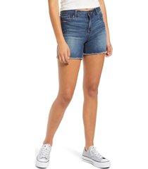 women's 1822 denim mesh panel high waist denim shorts
