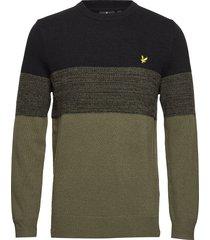 chest panel knitted jumper stickad tröja m. rund krage grön lyle & scott