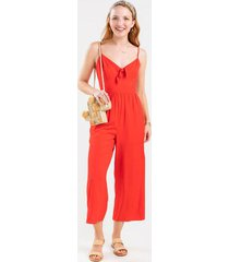 ari front knot jumpsuit - red