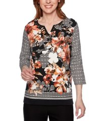 alfred dunner street smart floral mixed-print knit top