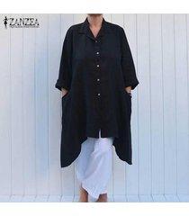 zanzea mujer solapa botones irregular ocasionales flojas de la blusa llanura larga camisa de vestir negro -negro