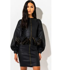 akira out of this world faux leather peplum mini dress