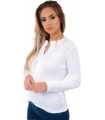 blusa livora camisa botão tricot nó frontal feminina