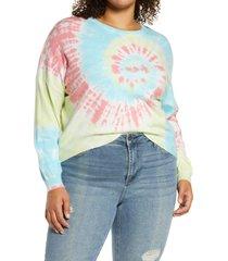 plus size women's blanknyc tie dye sweatshirt, size 3x - ivory