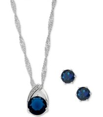 charter club fine silver plate pave & round crystal pendant necklace & stud earrings set, created for macy's